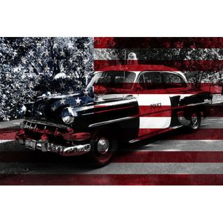 iCanvasArt Vintage Polics Cops Car, American Flag Canvas Wall Art
