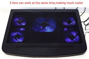 New 2 USB 5 Fans Laptop Cooling Pad Cooler Stand for 10'' 17' Blue LED Light