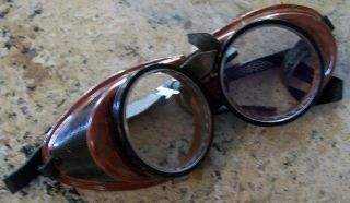 RARE Vintage MSA Safety Army Chipper Aviator Pilot Motorcycle Steampunk Goggles