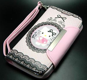 Authentic Sanrio Hello Kitty Leather Wallet Case Samsung Galaxy s III 3 S3 Phone