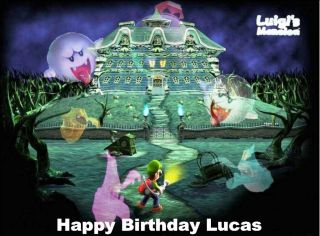 Luigis Mansion Edible Image Party Cake Decoration