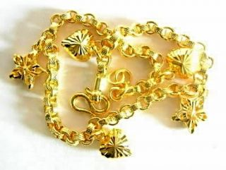 New 18ct 18 24K Real Yellow Gold Filled Mens Womens Plated Charm Bracelet Bangle