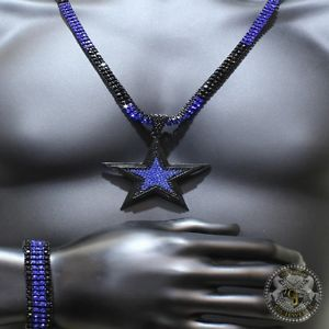 Mens Black Gold Icy Blue Lab Diamond 5 Point Star Pendant Necklace Bracelet Sale