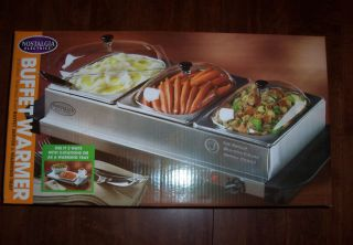 Nostaligia Electrics Stainless Steel Triple Buffet Server and Warming Tray New