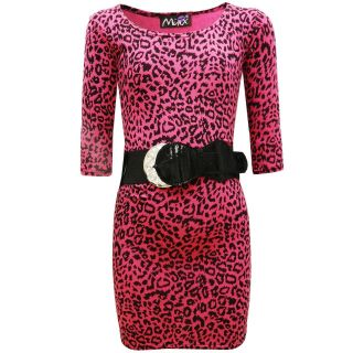 Minx Girls Leopard Print Party Kids Dress with Belt Age 7 8 9 10 11 12 13 Years