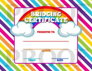 Printable Girl Scout Retro Rainbow Bridging Certificate Customizable