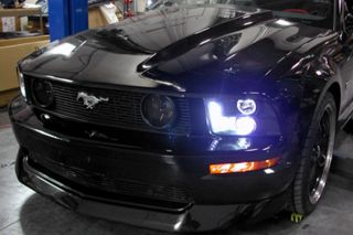 05 09 Ford Mustang Headlights Black Halo Projector w LEDs Car Head Lamps Spec D