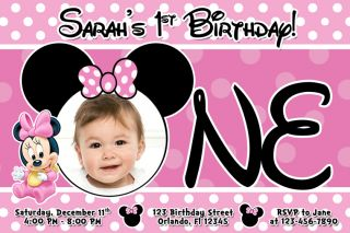 Minnie Mouse Hot Pink Girl Baby Birthday Party Photo Invitations Printable