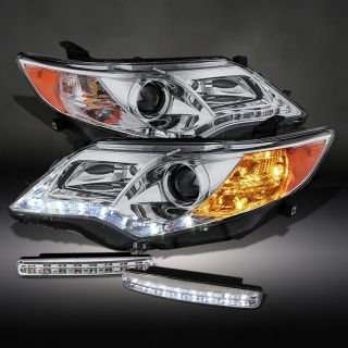 2012 2013 Toyota Camry DRL Chrome Projector Headlights LED Daytime Running Lamps