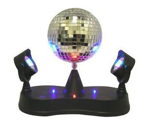 Mirror Rotating Disco Ball Party LED Light Lamp w Two Double Twin Projectors