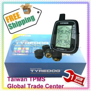 Tyredog TPMS Wireless Tire Pressure Monitoring System w 4 External Sensors