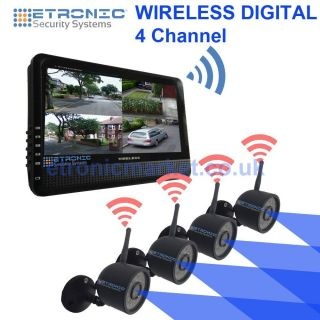 Outdoor Wireless 4 CCTV Surveillance Security Camera System Nightvision DVR