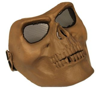 Tan Skull Skeleton Full Face Protective Safety Airsoft Gear Combat Battle Mask