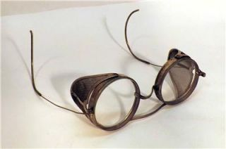 Antique Vtg Saniglass Safety Goggles Glasses Dated 1915 Kings Steampunk Aviator