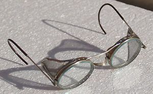 Antique AO Safety Goggles Glasses Steampunk Motorcycle Metal WWII Side Shield