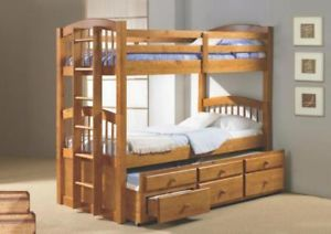 Twin Bunk Bed w Trundle Bed Storage Drawers Bunkbed Honey