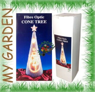 70cm Fibre Optic Cone Tree with Warm White Lights Snowman Christmas Decoration