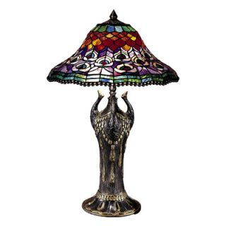 Dale Tiffany Peacock Tail 2 Light Table Lamp