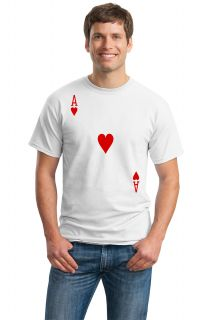 Ace of Hearts Adult Unisex T Shirt Card Costume Tee Shirt Magic Trick Tee