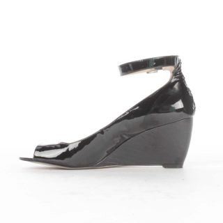 Enzo Angiolini Qamra Wedge Sandal Black Patent Leather 8 5
