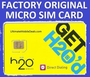 H2O Wireless Micro Sim Card at T GSM Network Unlimited Prepaid Wireless New