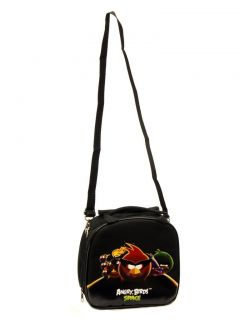 Angry Birds Space Lunch Bag w Adjustable Strap Water Bottle Black