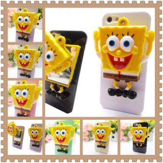 3D Lovely SpongeBob SquarePants Mini Mirror Case Cover for iPhone 5 5s