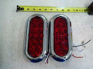 "2 6"" Chrome Trailer Truck Red LED Surface Mount Oval Stop Turn Tail Light"