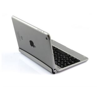 Silver Slim Aluminum Wireless Bluetooth Keyboard Case Cover for Apple iPad Mini