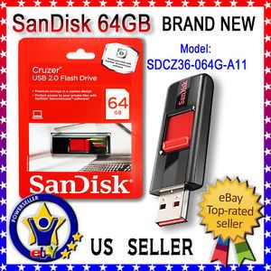 Brand New Design SanDisk Cruzer USB 2 0 Flash Pen Drive 64GB SDCZ36 064G A11
