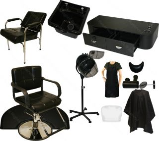 1 Station Package Hydraulic Barber Chair Shampoo Bowl Hair Dryer Salon Equipment