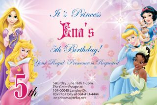 Personalized Disney Princess Birthday Party Invitation U Print Custom Photo