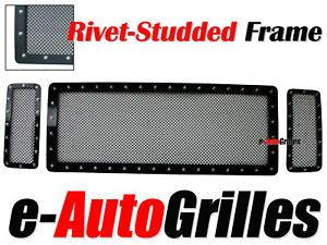 08 10 Ford Super Duty F250 F350 Black Mesh Rivet Billet Grille Insert Grill