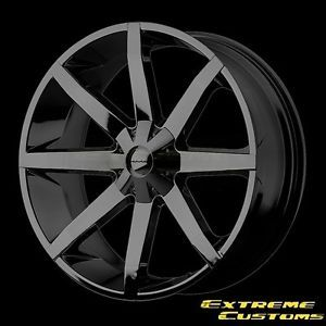 22 x9 5 KMC Wheels KM651 Slide Gloss Black 5 6 Lug Wheels Rims Free Lugs