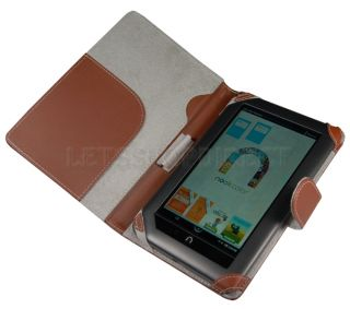 Barnes Noble Nook Color Brown Leather Case Cover 1
