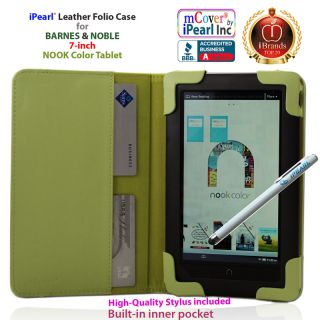 "New Green iPearl Folio Case w Free Stylus for 7"" Barnes Noble Nook Color Tablet"