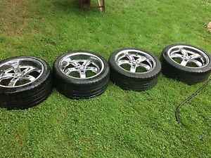 4 Beyern 18 inch Five Chrome 5 Spoke Wheel Set with Michelin Tires On