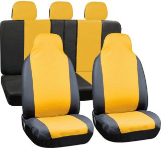 8PC Full Integrated Set Yellow Black PU Faux Leather Complete Van Seat Covers