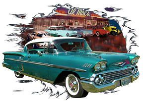 1958 Green Chevy Impala A Custom Hot Rod Diner T Shirt 58 Muscle Car Tee'S