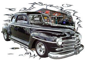 1947 Black Plymouth Coupe Custom Hot Rod Garage T Shirt 47 Muscle Car Tee'S