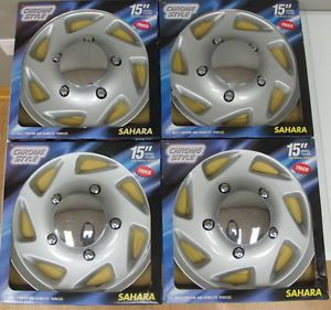 "New Set of 4 Sahara Chrome Style 15"" Wheel Covers Truck Tires Rims 81702"