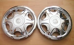 "2 Genuine 93 97 Toyota Corolla 13"" Steel Wheel Rim Chrome Hub Cap Hubcaps"