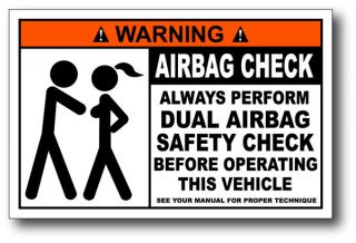 Airbag Check Funny Warning Sticker Decal Wrangler CJ YJ