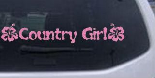 Country Girl w Hibiscus Flower Car Truck Window Laptop Decal Sticker Pink 8x1 4