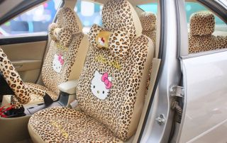 Hello Kitty Leopard Auto Seat Cover Set 18pcs Cushion Steering Wheel Front Rear