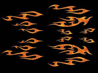14pc True Fire Tribal Flame Decals for Harley Davidson Helmet Fuel Gas Tank