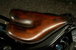 Custom Harley Chopper Solo Leather Motorcycle Seat Btab