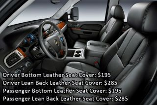 07 12 Chevy Silverado 3500HD Lt Driver Bottom Leather Seat Cover Ebony Black