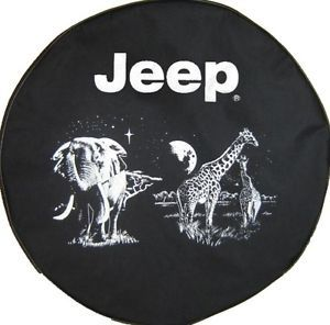 Sparecover® Brawny Series Jeep Logo 32 Jungle Onheavy Black Denim Tire Cover