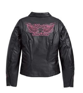 Harley Davidson Ladies Blissful Black Pink Leather Jacket 97068 11VW XXL 2X